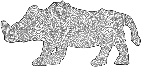Rhino color in book Ilustrace