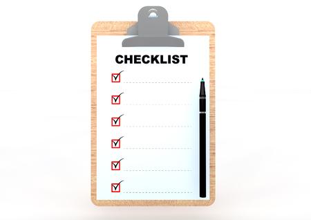 Clip board with checklist