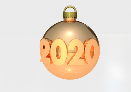 2020 Bauble 3D render Stock Photo