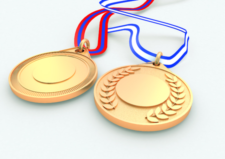 Gold Medals 3D render Stock Photo