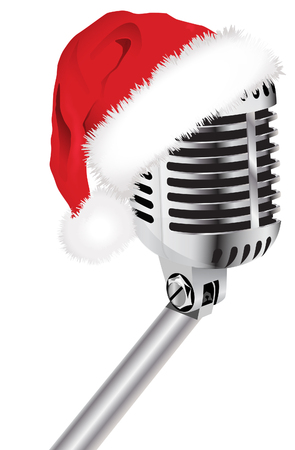Santa hat and microphone Stock Illustratie