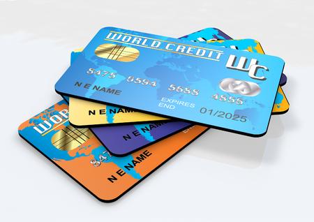 Rendu 3D des cartes de crédit Banque d'images - 90909496