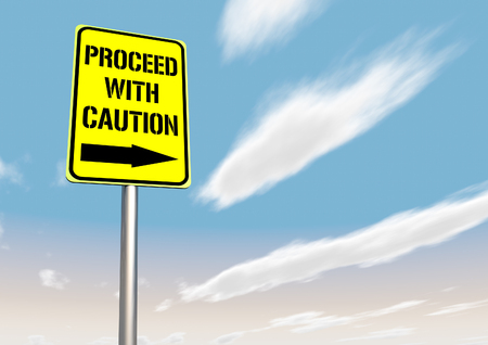 Proceed with caution sign Stock Photo