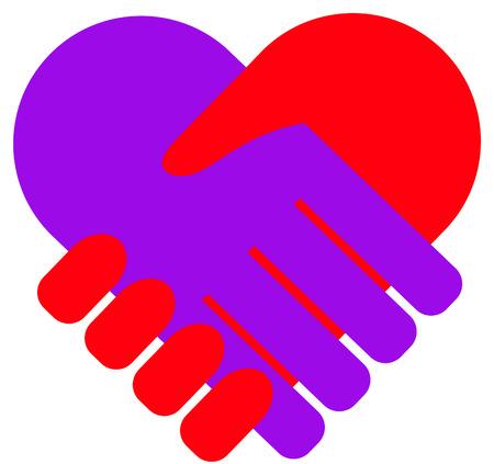 Hand in hand hartvormige illustratie.