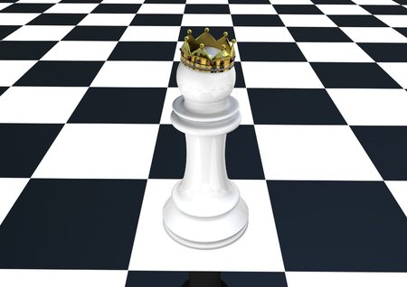 Chess pawn with crown