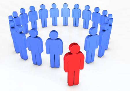 Homem, exterior, círculo, de, homens, 3d
