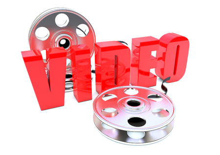 Video with Film reels 3D Stock Photo
