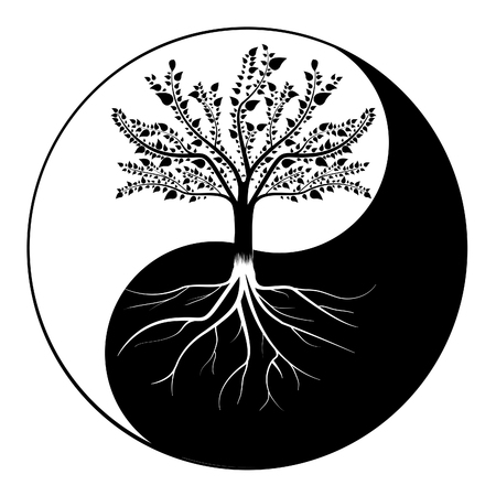 陰陽の木  イラスト・ベクター素材