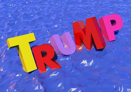 Trump in Water 3D render