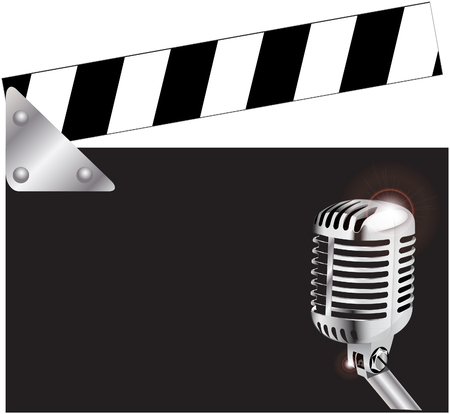 Clapper board with microphone