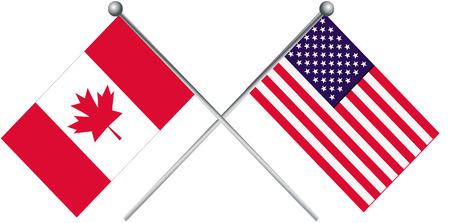Canada and USA flag illustration.