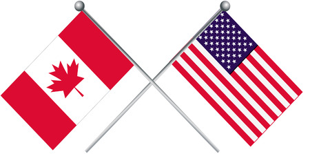 Canada and USA flag illustration.