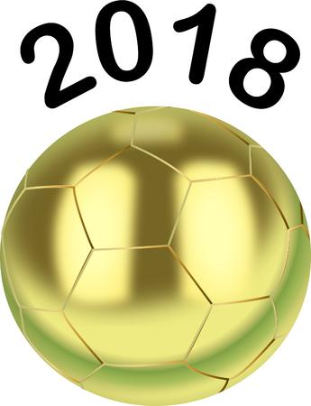 Gold Soccer Ball 2018 illustration. Illustration