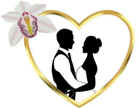 Wedding couple silhouette Stock Illustratie