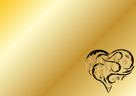 Gold plate background with heart shape