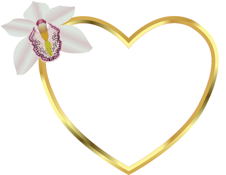 Gold heart frame with flower accent. Stock Illustratie
