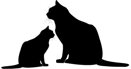 Cat and kitten silhouette illustration