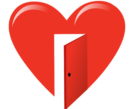red heart symbol with door illustration