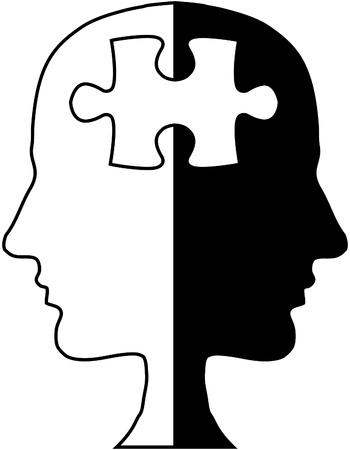 Jigsaw puzzle head illustration
