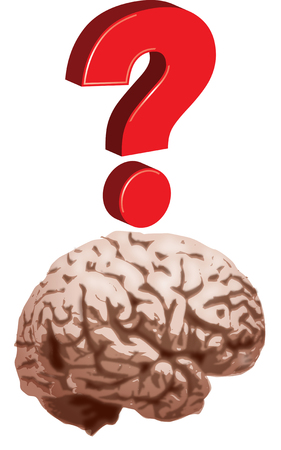 Question mark with brain