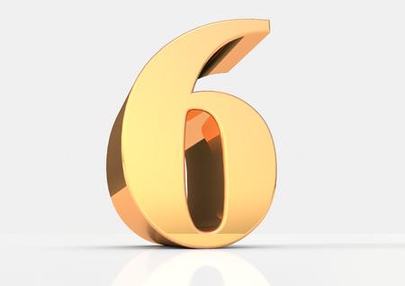 6 3D render in gold