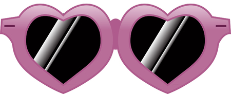 Heart shaped pink sunglasses.