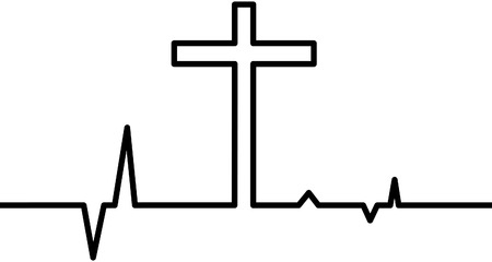 Christian cross with heart beat sign.