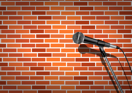 microphone and wall background Vector illustration.