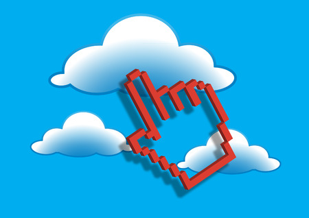 Computer pointer with cloud Vector illustration. Illustration