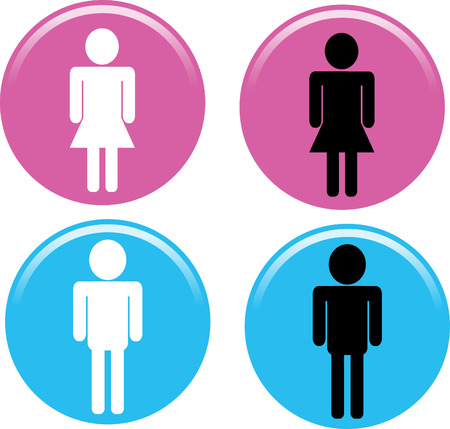 Male and female Buttons on white background. Stock Illustratie