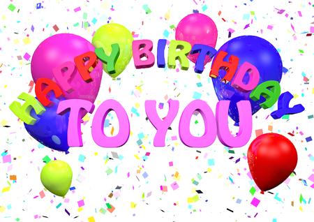 Hartelijk gefeliciteerd met je verjaardag 3D render