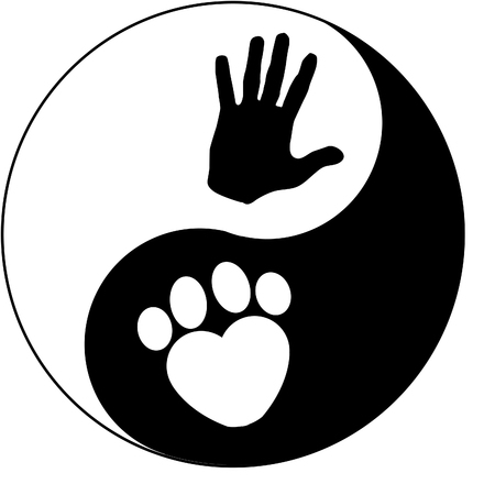 Yin Yang, a hand and a paw symbol Vettoriali