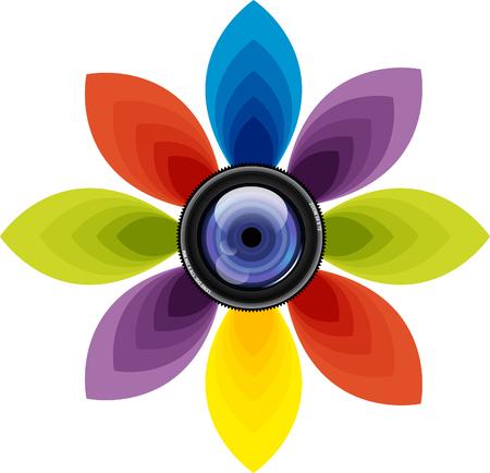 Lens with photo symbol illustration isolated on white