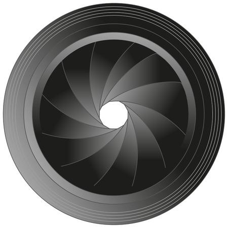 Ilustración de la lente de la cámara aislada en blanco Ilustración de vector