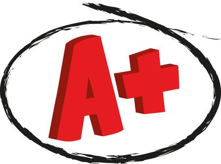 A Plus mark isolated on white Illustration