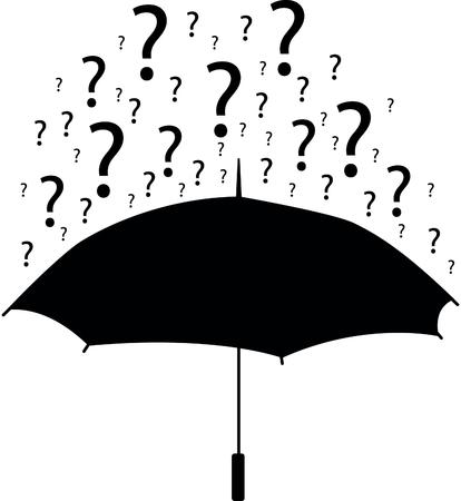 Umbrella with question marks Stok Fotoğraf - 107138974
