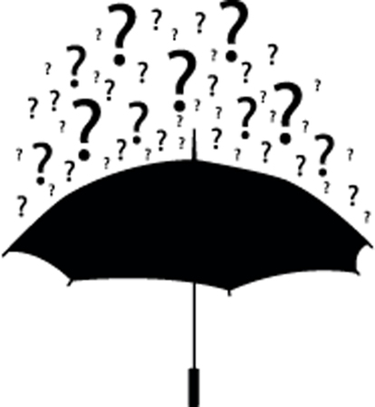 Umbrella silhouette with question marks
