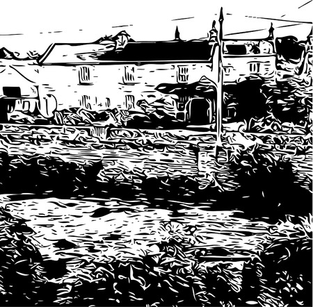 Farm house etching style