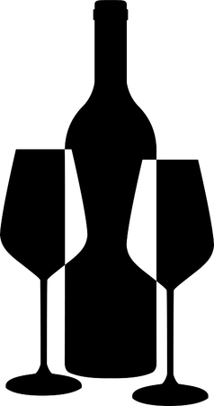 Wine bottle and Glasses silhouette