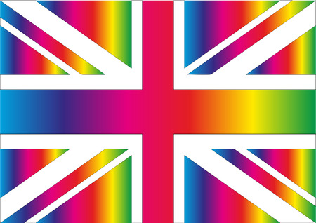 Union Jack with Rainbow colours Ilustrace