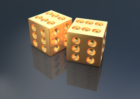 Gold Dice 3D render