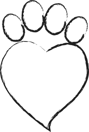 animal footprint with Heart Illustration