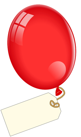 Red Balloon with tag Иллюстрация
