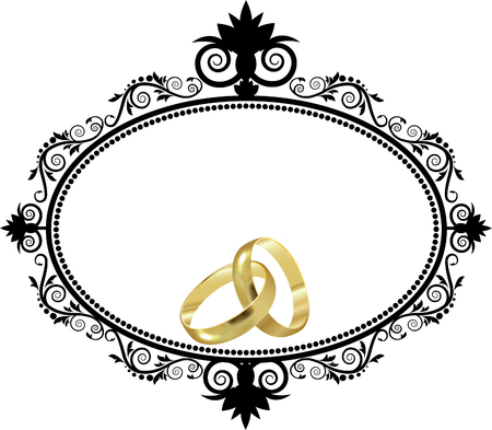 decorative border with wedding rings Foto de archivo - 116874758