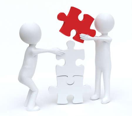 Teamwork men building Jigsaw puzzle
