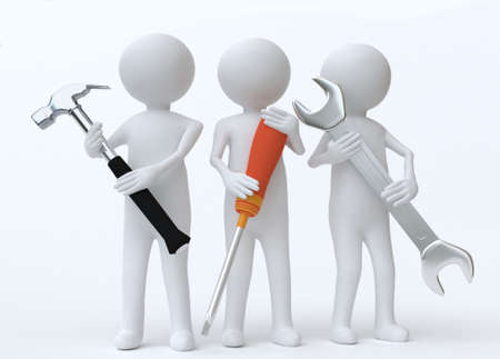 Work men with screw driver hammer and spanner