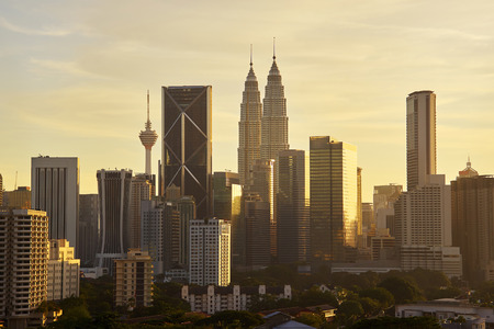 Dramatic scenery of the Kuala Lumpur city at sunset
