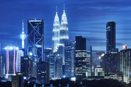 malaysia city: Kuala Lumpur skyline at night