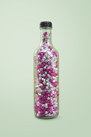 glass paper: Lucky stars in a glass bottle with clippiing path