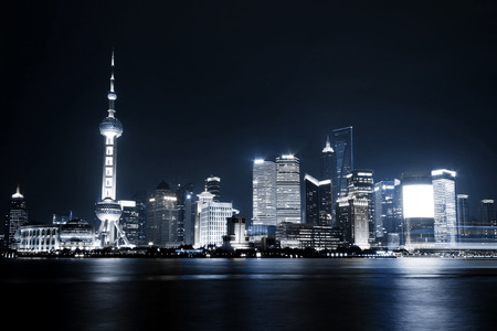 shanghai pudong skyline: Beautiful Shanghai Pudong skyline at night